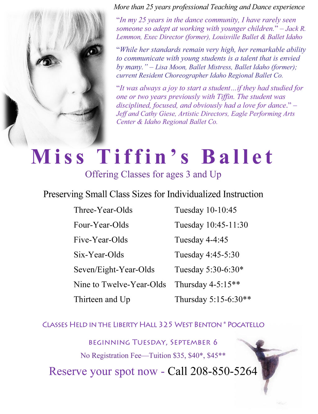 Miss Tiffin's Ballet classes for kids